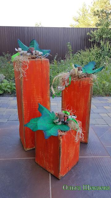 тыквы, деревянные, из дерева, декор