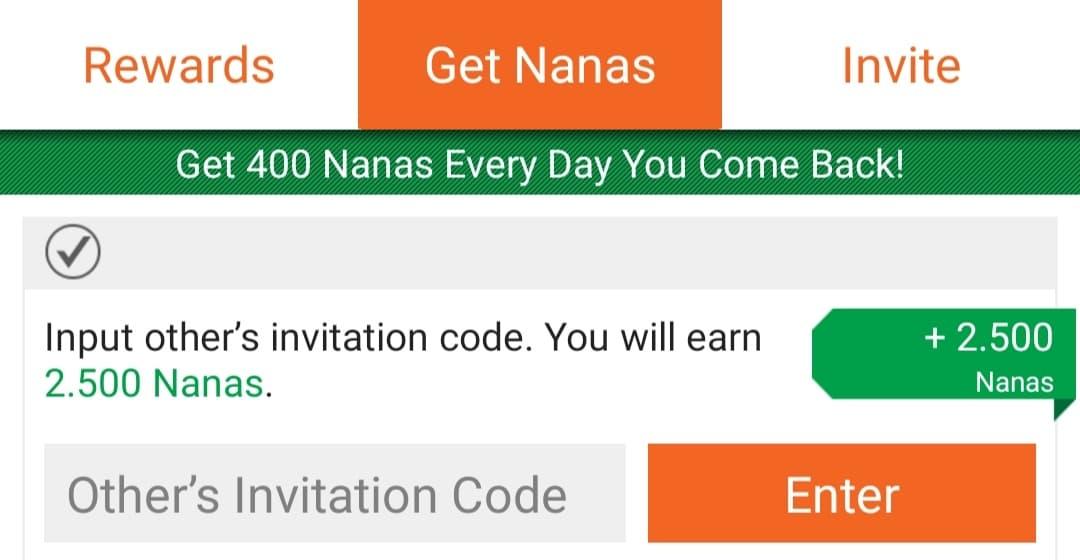 memasukkan kode invite appnana