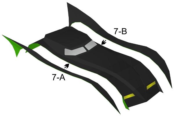 Step 7 in Batmobile paper model build instruction