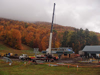 Crews at work on Gore's new Adirondack Express II high-speed quad chairlift.  The Saratoga Skier and Hiker, first-hand accounts of adventures in the Adirondacks and beyond, and Gore Mountain ski blog.