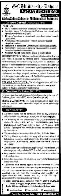 GC University Lahore Jobs 2020 Apply Online