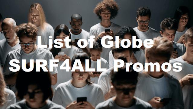 List of Globe SURF4ALL Promos