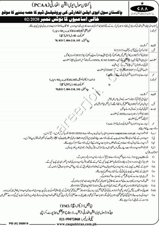 Latest Jobs in Civil Aviation Authority Pakistan PCAA 2021