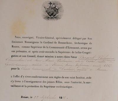 La lettre d'obédience :  A partir de 1850, la lettre d'obédience tenait lieu de brevet de capacité (obligatoire depuis la loi Guizot) pour les institutrices appartenant à des congrégations reconnues par l'état : « Le brevet de capacité peut-être remplacé par le baccalauréat, la qualité de ministre d'un culte ou par un certificat de stage, ce qui favorisait les frères. Pour l'enseignement féminin, on admit même que suffirait aux sœurs une lettre d'obédience que leur supérieure leur remettrait et qui attesterait leur appartenance à une congrégation. » Histoire de l'enseignement en France 1800-1867, Antoine PROST. Cette institution qui favorisait les congréganistes au détriment des instituteurs laïques, obligatoirement brevetés, donna lieu à de violentes attaques et contribua largement à l'extension de l'anticléricalisme. Elle ne disparut qu'avec l'obligation du brevet de capacité pour tous les maîtres après la loi du 30 octobre 1881. L'instauration de la lettre d'obédience est l'œuvre de Falloux, légitimiste et catholique libéral, député à l'assemblée constituante de 1848, et ministre de l'Instruction publique du 20 décembre 1848 au 30 octobre 1849. Présentée par Parieu, cette loi qui porte son nom, votée après deux mois de débats, établit dans l'enseignement primaire et secondaire le principe de la liberté (en opposition avec le décret napoléonien de 1808 créant l'université et son monopole), en donnant maints avantages à l'enseignement confessionnel et congréganiste. Bien que modifiée par les lois de 1901, 1902 et 1904 aboutissant à l'interdiction de l'enseignement congréganiste, elle n'a jamais été abrogée. Ainsi favorisés, les enseignants congréganistes, en retour,  étaient au service du patron à l'image de l'Abbé Beraud de Blanzy (3).  Jules Chagot n'échappait pas à la règle à travers son école qui devait contribuer à la  « bonne moralité » des enfants et des familles seule garantie de paix sociale, l'église étant la mieux qualifiée pour cette tâche qui en outre 