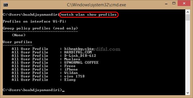 melihat daftar wifi yang pernah terhubung di laptop daru cmd