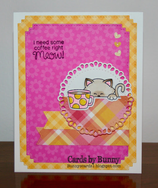 I need coffee right meow by Bunny features Newton Loves Coffee by Newton's Nook Designs; #newtonsnook, #inkypaws, #catcard, #coffeecard, #cardmaking