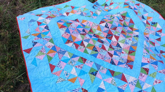 Exploding Heart quilt made with Morrison Park fabrics