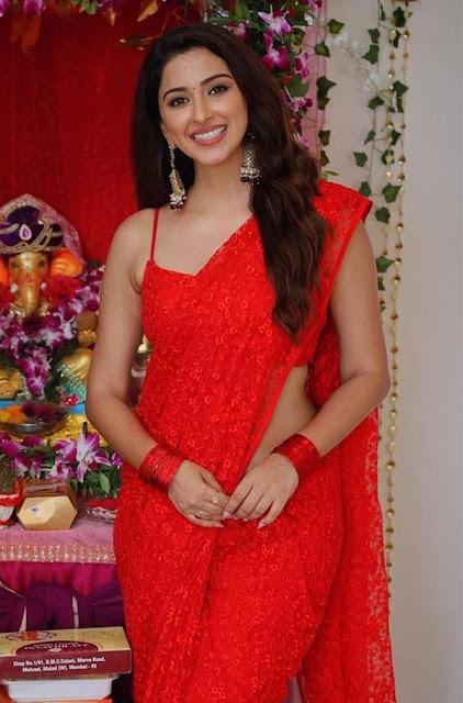 Esshanya Maheshwari Very Hot in Red Saree Latest Photos Navel Queens