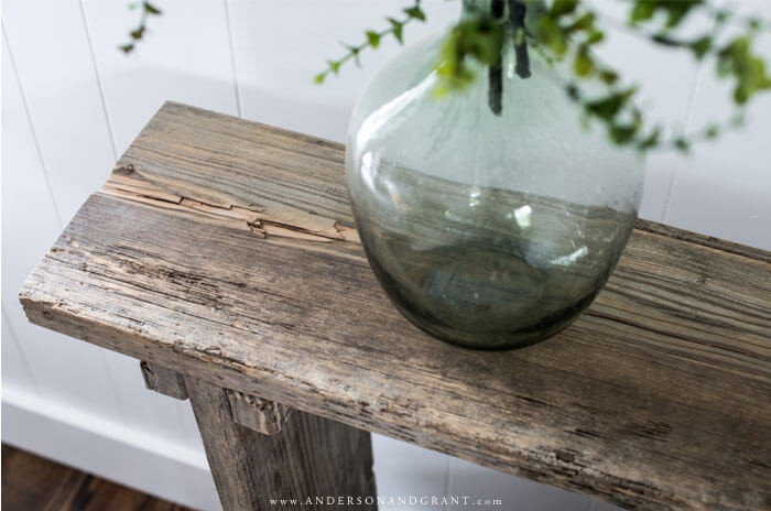 top of rustic wood table