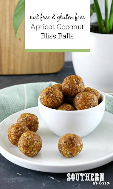 Nut Free Apricot Coconut Bliss Balls Recipe - gluten free, paleo, raw, vegan, healthy