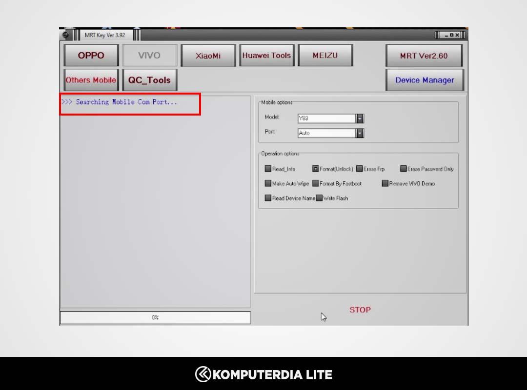 Cara Menghapus Lupa Pola, Lupa Pin dan Lupa Password Vivo Y53s 4G Dengan Mrt Dongle