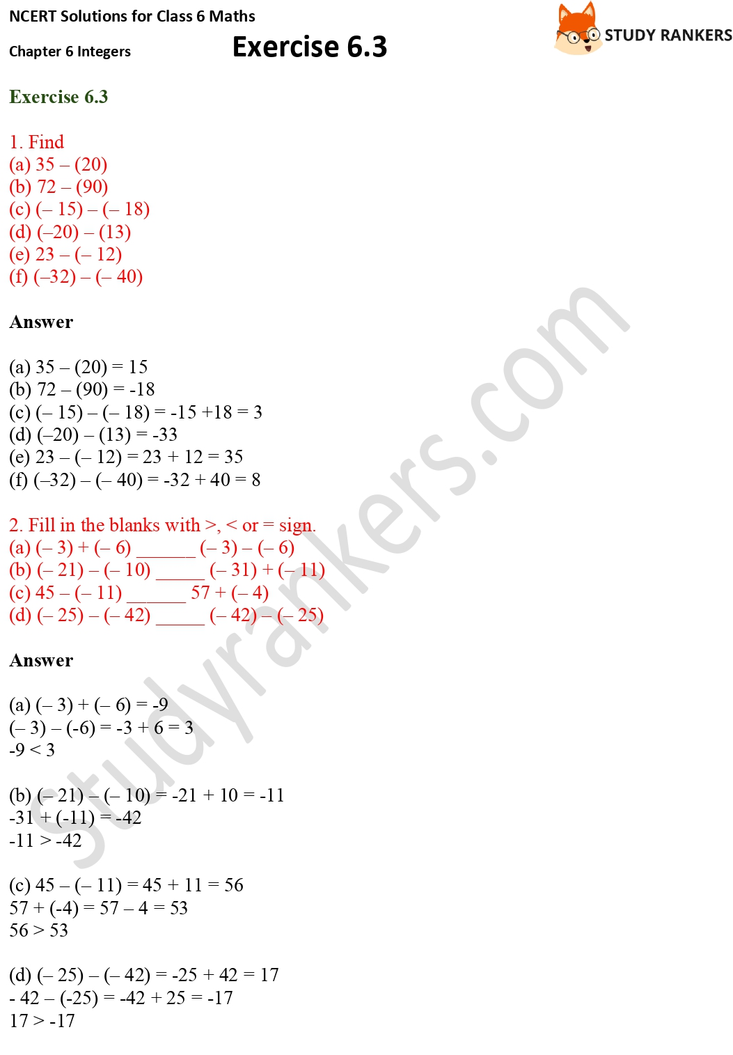 NCERT Solutions for Class 6 Maths Chapter 6 Integers Exercise 6.3 Part 1
