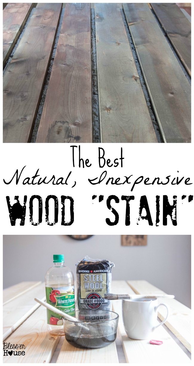 If you're looking for an all natural wood stain method, this is the perfect DIY project for you! Just three ingredients are needed to make this inexpensive and all-natural wood stain.