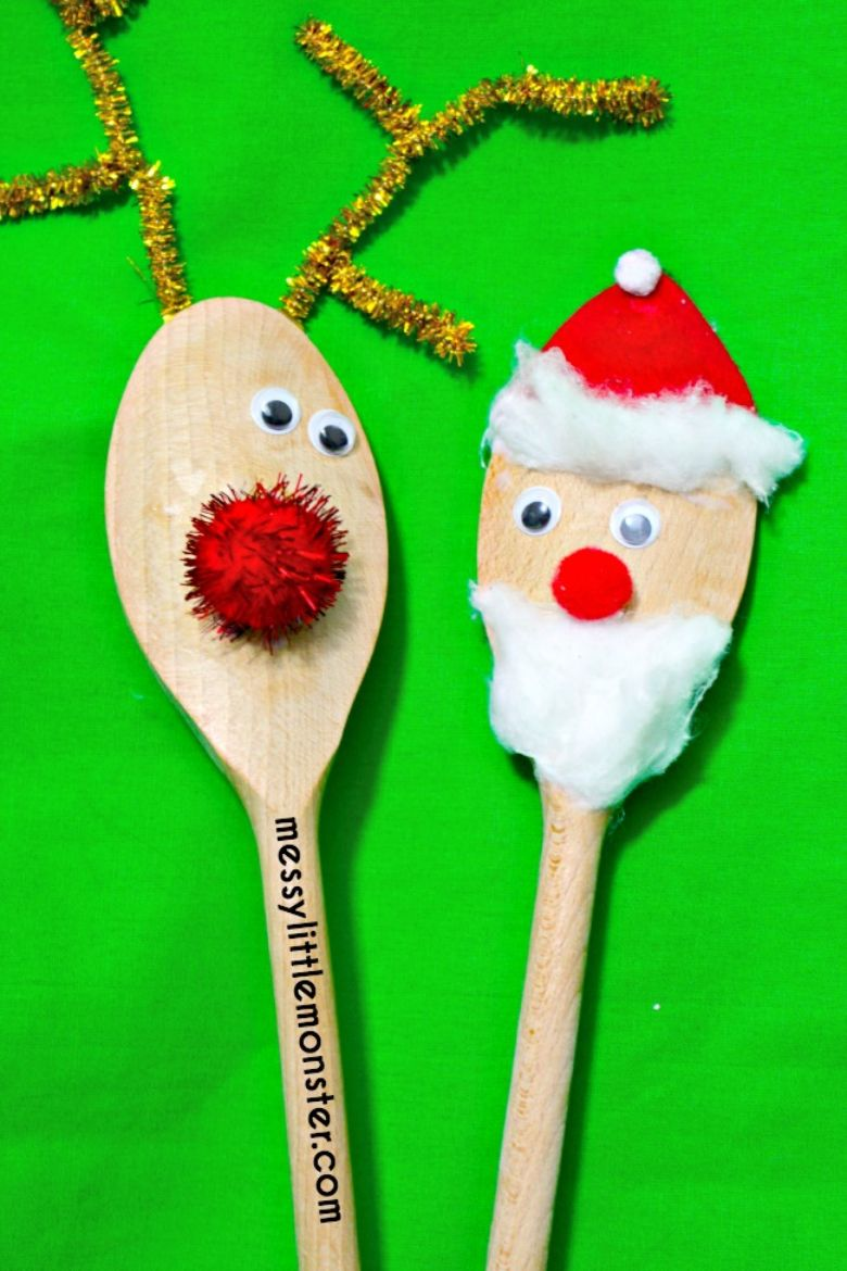 Rudolph and Santa puppet Christmas craft for toddlers and preschoolers