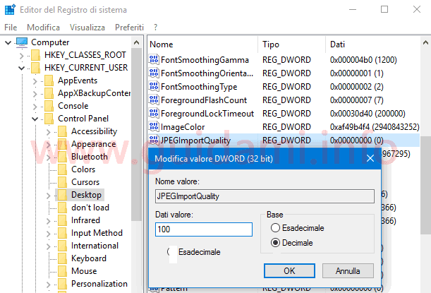 Modifica valore registro di sistema Windows