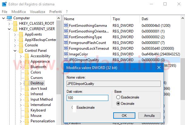 Modifica valore registro di sistema Windows