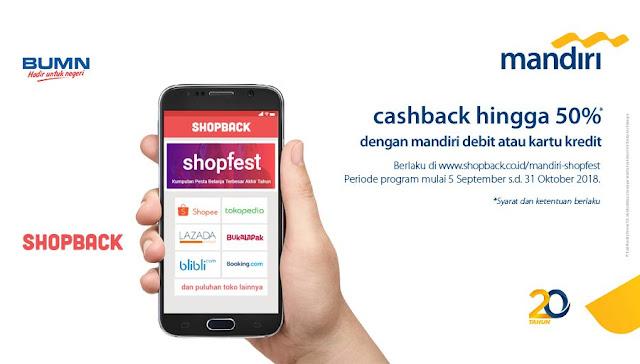 Bank Mandiri - Promo Merchant eCommerce Cashback 50% Pakai Debit Atau Kartu Kredit