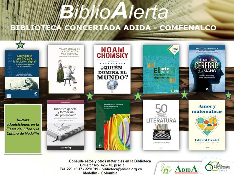 BiblioAlerta el boletín de la Biblioteca Concertada ADIDA COMFENALCO octubre