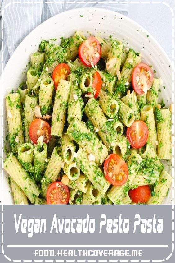 Vegan avocado pesto pasta is a quick and easy way to get in your greens. Made in less than 15 minutes, this flavorful recipe is packed with nutrients from avocado and spinach!