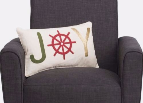 Nautical Joy Pillow with Ship Wheel Design