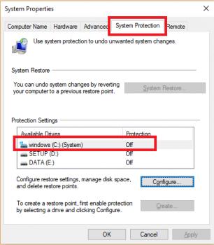 Kiểm tra lại tab System Protection