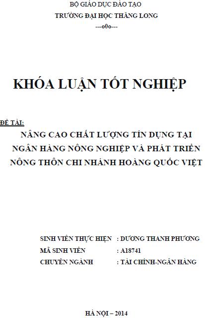 Nâng cao chất lượng tín dụng tại Ngân hàng Nông nghiệp và Phát triển Nông thôn Chi nhánh Hoàng Quốc Việt