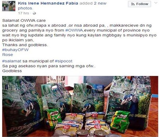 "A recent Facebook post going viral is about an OFW family receiving free groceries from OWWA. In the post, the person was claiming that ALL OFWs or their family at home are qualified to receive such package from the OWWA offices in their respective municipalities or provinces. She even posted pictures of the items she received. OWWA has since noticed the post and had to issue an official statement as clarification. According to OWWA the package is part of the relief/assistance package that they provided for  OFW families that were victims of Super Typhoon Nina that struck last year. OWWA has a program specifically for these situations. It's called OWWA CARE or OWWA Cash Relief. The OWWA CARE Program is a one-time cash assistance to OFW-members and their dependents who have been directly affected by disasters, most commonly, super typhoons. It is just one of the many benefits of being an OWWA Member. The video below lists these benefits. So when and how is the OWWA Care provided?  In times of disaster, the OWWA Board will convene a meeting to draw, and if agreed upon, approve a Board Resolution providing relief to disaster struck areas. Only OFWs and their families coming from areas or towns declared as under ""State of Calamity"" by the RDRRMC are eligible for aid. In case of typhoons, towns under Tropical Cyclone Warning Signal No. 3 and above will be given relief packages. The Board will coordinate with the Regional Welfare Office in the designated areas to arrange the logistics. The Regional Welfare Office will determine the list of beneficiaries. Proof of membership may be required. Upon receipt of relief package, each beneficiary will sign an acknowledgement, proving that he/she has received the aid."
