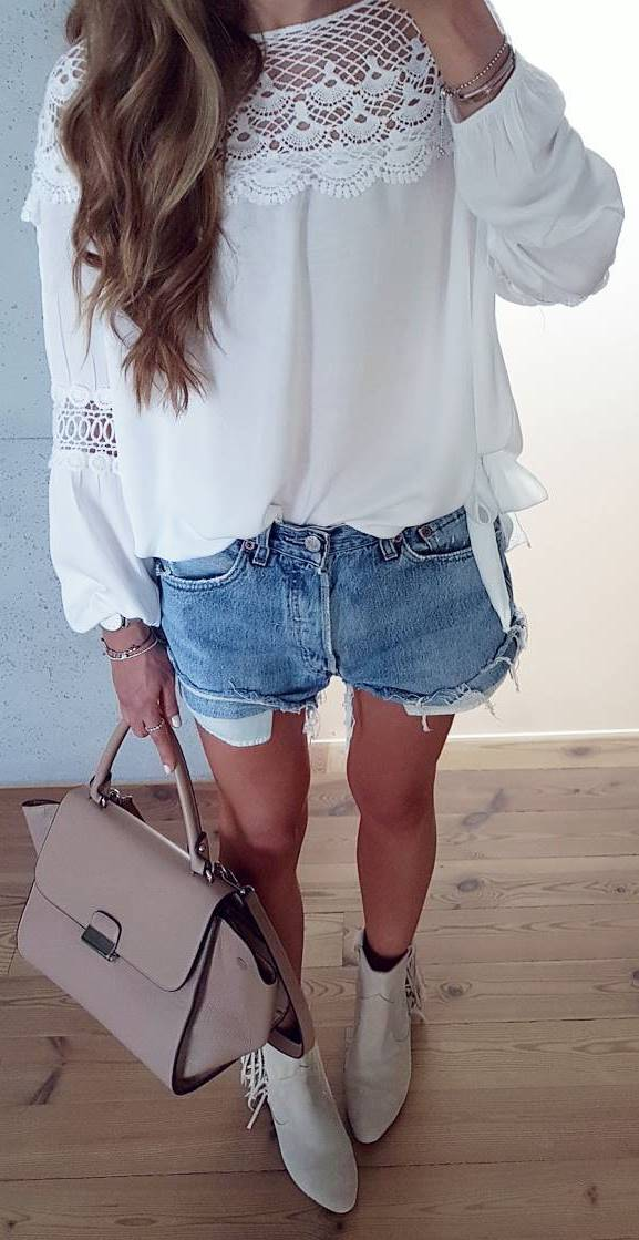 cute outfit idea: top + shorts