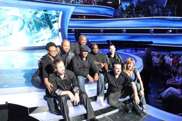 American Idol Band group shot - Toni Scruggs, Brandon Winbush, Artie Reynolds,  Russell Graham, Ray Chew, Rex Hardy Jr., Roland Gajate Garcia, Tony Pulizzi, and Tanya Diona