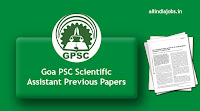 Goa PSC Scientific Assistant Previous Papers