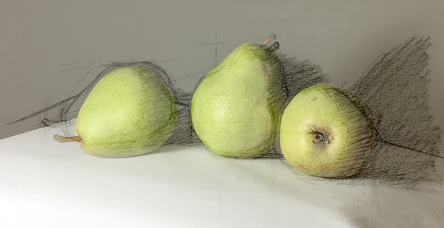 Daily Art 11-21-17 still life sketch in graphite number 25 - pears layered on photo