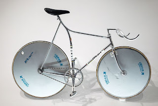 One of the aerodynamic bikes produced by Moser at his factory in Trento. He broke the hour record on one similar
