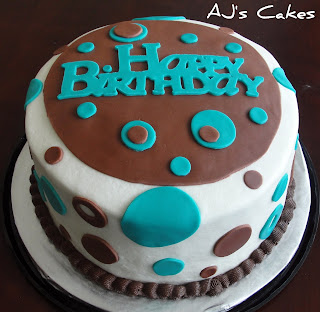Aj S Cakes Teal And Brown Birthday Cake