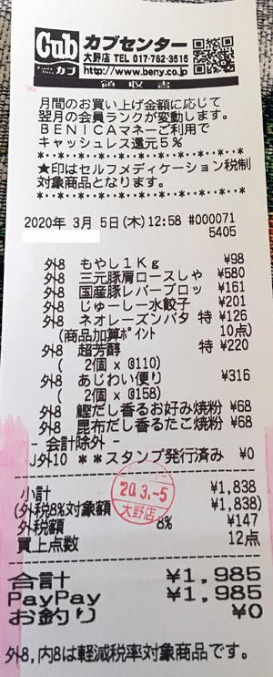 カブセンター 大野店 2020/3/5 のレシート