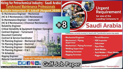 Gulf Overseas Jobs~4 August