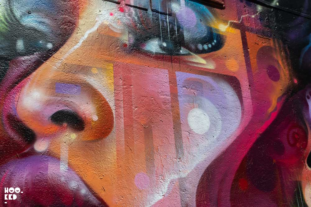 Brick Lane Street Art - Close Up details of Mr Cenz Mural