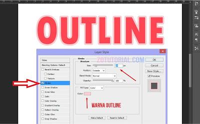 Tutorial Membuat Garis Pinggir Tulisan di Photoshop (Outline) - Stroke