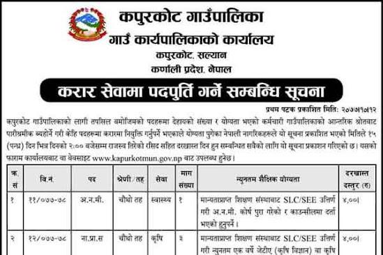 Karnali Province - Kapurkot Gaupalika Karar Vacancy 2077-10-12