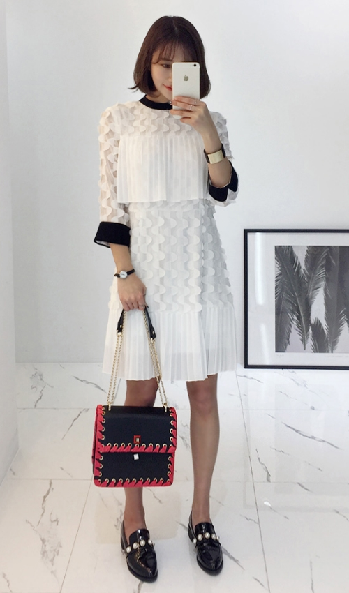 Textured Pattern With Pleat Panel Dress