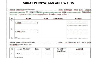 Contoh Surat Pernyataan Ahli Waris Dari Desa [Lengkap]