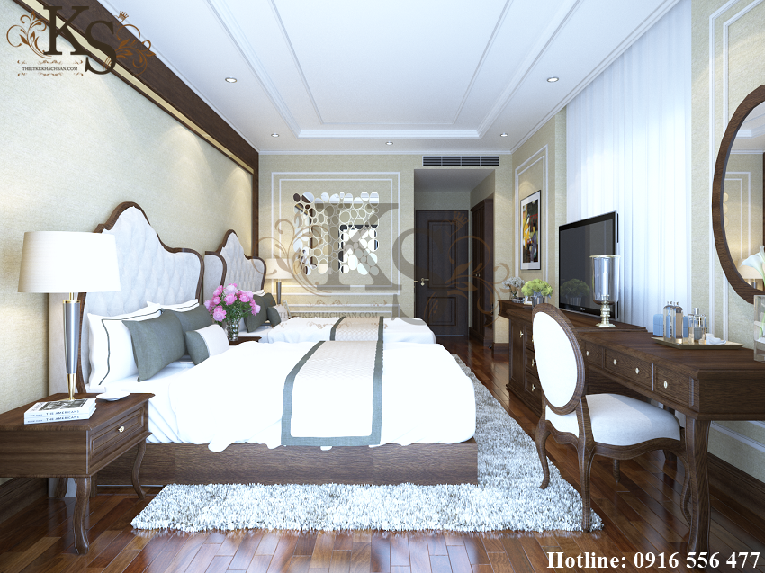Hình ảnh: Các đường phào chỉ chạy vuông góc với nhau trên trần nhà tạo điểm nhấn và chiều sâu cho thiết kế nội thất phòng ngủ khách sạn La MaiSon Quy Nhơn.
