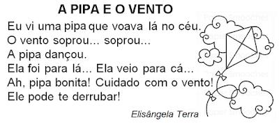 Texto A PIPA E O VENTO, de Elisângela Terra