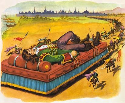 Gulliver meegevoerd door de Lilliputters op een groot bed