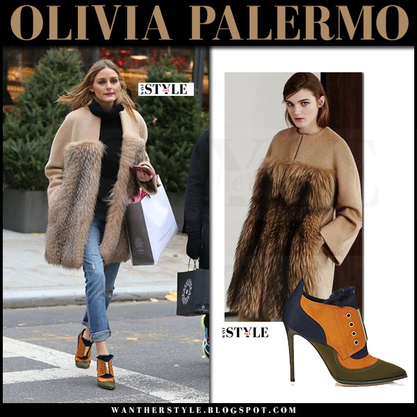 Olivia Palermo in camel fur panel coat maxmara and orange green ankle boots jimmy choo mitsu what she wore