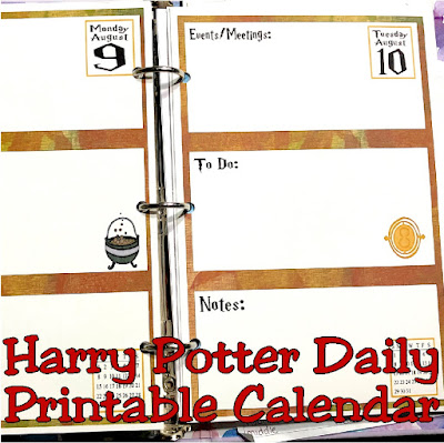 Magically get organized this month with this printable daily calendar featuring your favorite Harry Potter items and themes.  This undated, 31 day calendar can be used any time of year for any month, so you can start getting organized and back on track today.