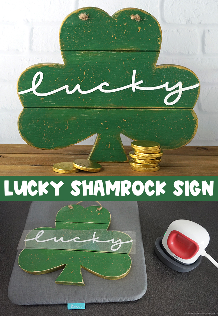 Lucky Shamrock Wood Sign with Free Cut File