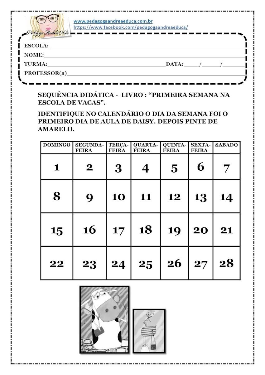 ATIVIDADE DO LIVRO : PRIMEIRA SEMANA NA ESCOLA DE VACAS - DICA PARA A PRIMEIRA SEMANA DE AULA