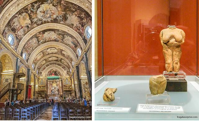 Altar-mor da Co-Catedral de São João e uma Vênus neolítica, no Museu Nacional de Arqueologia de Malta