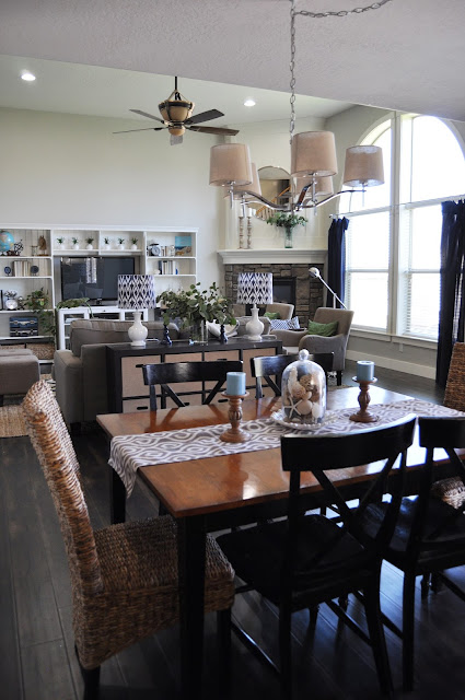 Great Room remodel after photos from www.jengallacher.com. #greatroom #familyroom #familyroommakeover