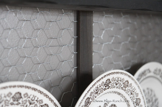 Chicken Wire backed plate rack, Bliss Ranch